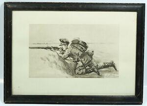 """Altes Bild """"Jäger in Stellung"""" Rudolf Poeschmann gerahmt"""