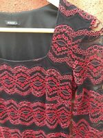 Roman Black & Red Long Sleeve 10 Dress Lined Lace Style Knee Length Bodycon D1