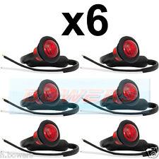6x 12V / 24V POSTERIORE ROSSO SMALL ROUND LED pulsante Marcatore Lampada / Luci CAMION UNIVERSALE