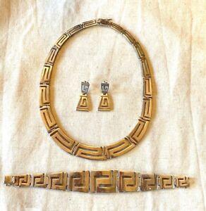 Sterling Silver Abstract Greek Key Design Set: Necklace, Bracelet, & Earrings