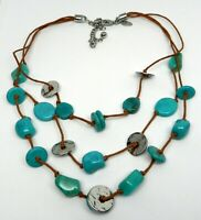 Gorgeous Women's Ladies Chico's Turquoise Look Leather Silver Tone Necklace