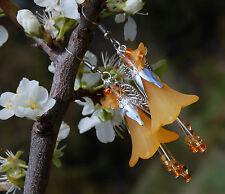 Boucles d'oreilles fleurs orange bijoux Halloween sorcière forêt dark mori elfe