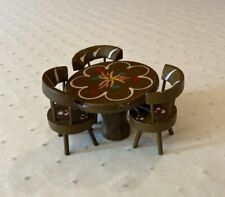 Doll house furniture 3 chair and table hand crafted