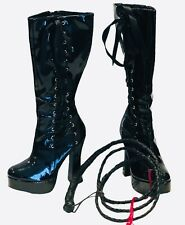 Hot Topic Black Patent Leather Cosplay Dominatrix Costume Boots & Whip Size 7