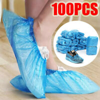 100 Pack Disposable Plastic Shoe Covers Blue Indoor Outdoor Dustproof Waterproof