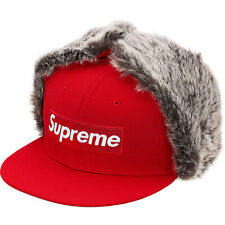 "NWT RED RARE SZ 7 1/8"" SUPREME EARFLAP NEW ERA EAR FLAP HAT CAP FW19 - IN HAND"