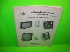 "Wells Gardner 19"" In Line Color Arcade Games TV Monitor Service Manual 19 K4601"