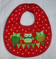 Baby Bib, Reversable, Designs On Both Sides, Owls & Spots, Hook and Loop Fasten