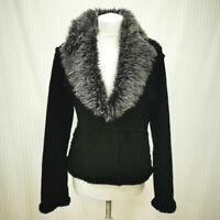 Womens M&S Per una Black Suede Fur Collar Jacket Fur Lined Size M Medium Ladies