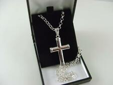 925 Silver Cross and 24  Inch Heavy Belcher Chain 19 Grams Lux Gift Box