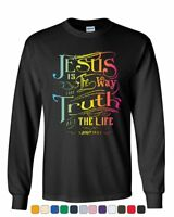 Jesus Is the Way Long Sleeve T-Shirt Truth Life Bible Religion God Lord Pray Tee