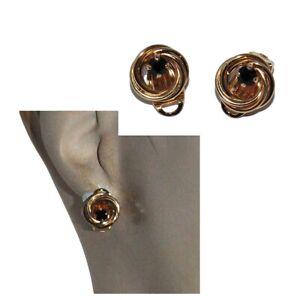 ALTESSE Boucles d'oreilles anciennes plaqué or 18 carats clips spinelle bijou