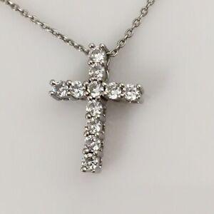 "925 Sterling Silver CZ Cross Necklace 18"""