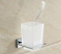 Wall Mounted Bathroom Dull Polish Cups Toothbrush Tumbler Holder Chrome Alloy