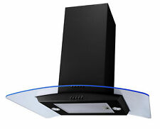 Sia ISE71BL 70 cm Cooker Hood Extractor - Black, LED Edge Lit Curved Glass