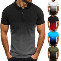 Men's 3D Gradient Sport Golf Shirt Short Sleeve Dri-Fit Slim Muscle Tops T-shirt