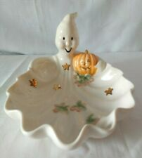 Lenox Halloween Ghost & Pumpkin Candy Trinket Dish Bowl Gold Stars Fall Leaves