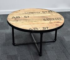 Industrial Round Coffee table, living room, solid timber, retro, hand made