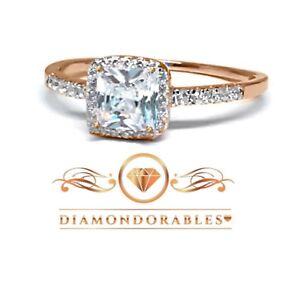 Diamondorables 18K Rose Gold Silver Asscher Princess Cut Lovely Ring 1.76 CT
