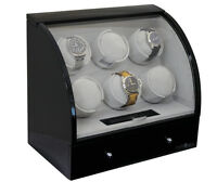 Pangaea Automatic Six 6 Automatic Watch Winder 4 Storage Box Case Black