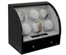 Pangaea Automatic Six 6 Automatic Watch Winder 4 Storage Box Case Black
