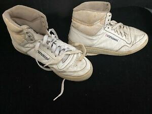 Vintage 80s 90s Converse CONS  Mens Sz 9.5 White High Top Basketball Sneakers 👟
