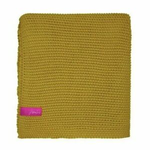 New! Joules Throw Knitted Moss Stitch 140cm x 200cm Rrp £120 yellow gold mustard