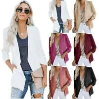 Womens Long Sleeve Blazer Suit Coat Ladies Work OL Office Jackets Cardigan Plus