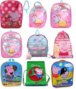 Girls Peppa George Pig Junior School Backpacks Gym Bag Toddler with Reins Straps