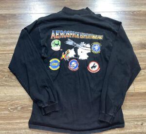 Vintage Aerospace Expeditionary Force Military Skull Long Sleeve Mock Neck Tee L