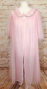 """VINTAGE KAYSER  FROTHY PINK NYLON NIGHTGOWN NEGLIGEE PEIGNOIR BUST 46"""""""