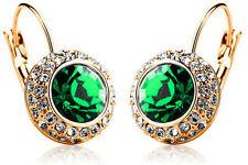 CRISTALLO AUSTRIACO gioielli Diamante SHINE GOLD & Orecchini a cerchio verde e496