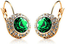 Austrian Crystal Jewellery Diamond Shine Gold & Green Circle Earrings E496