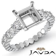 Diamond Engagement Asscher Semi Mount Shared Prong women's Ring Platinum 0.70Ct