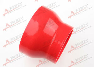"""3 Ply 4"""" To 3'' inch Straight Reducer 76.2mm Silicone Hose Coupler Pipe Red"""