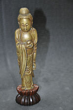Antique Chinese Solid Bronze Kwan-Yin With Wooden Stand