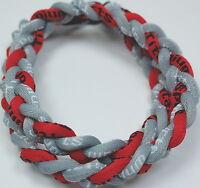 "Kids 18"" 3 Rope Twist Titanium Sport Necklace Gray Red Tornado Baseball"