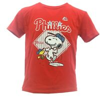 Philadelphia Phillies Official MLB Majestic Kids Youth Size Snoopy T-Shirt New