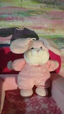 NEW PRESTIGE BABY RATTLE PINK WHITE BABY'S 1ST BUNNY PLUSH LOVEY STUFFED ANIMAL