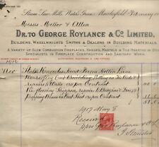 1916 MACCLESFIELD, STEAM SAW MILLS, WATERS GREEN, GEO. ROYLANCE & CO. BILLHEAD