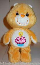 "CARE BEARS ""BIRTHDAY BEAR"" GOLDEN YELLOW 8"" PLUSH W/CUPCAKE BELLY BADGE, GOOD!"