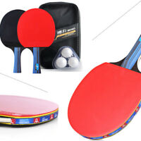 2pcs Professional Table Tennis Racket Ping Pong Paddle Bat+3pcs Balls Bag Set