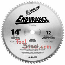 "Milwaukee 48-40-4505  Circular Saw Blade 14"" , 72 Tooth Dry Cut Carbide Tipped"