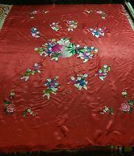 Antiguo chino Hoja de boda bordado a mano de seda espléndido piano Chal tapestr