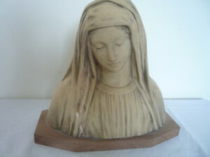 Vintage French Religious Terracotta Bust Statue After Raphael 1911 Artist Signed