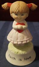 """Sankyo """"Faith Is Love"""" Musical Girl With Heart Figurine"""