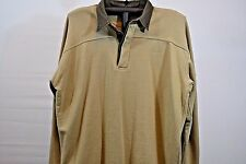 Cabela's Fleeced Lined Long Sleeve Rugby Shirt Tan/Green XL