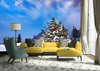 3D Arbre de Noël Photo Papier Peint en Autocollant Murale Plafond Chambre Art