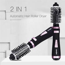 2 in 1 Ceramic Rotating Curling Iron Brush Automatic Hair Roller Dryer straig US