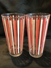 "Set of 2 Vintage Red White Stripe Tumbler Tall Drinking Glasses 6.5"" Tall"